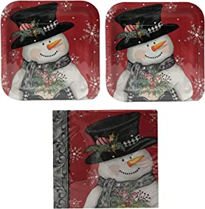 Christmas Holiday Snowman Dessert Paper Plates and Cocktail Napkins Disposable Sets for 20 Guests