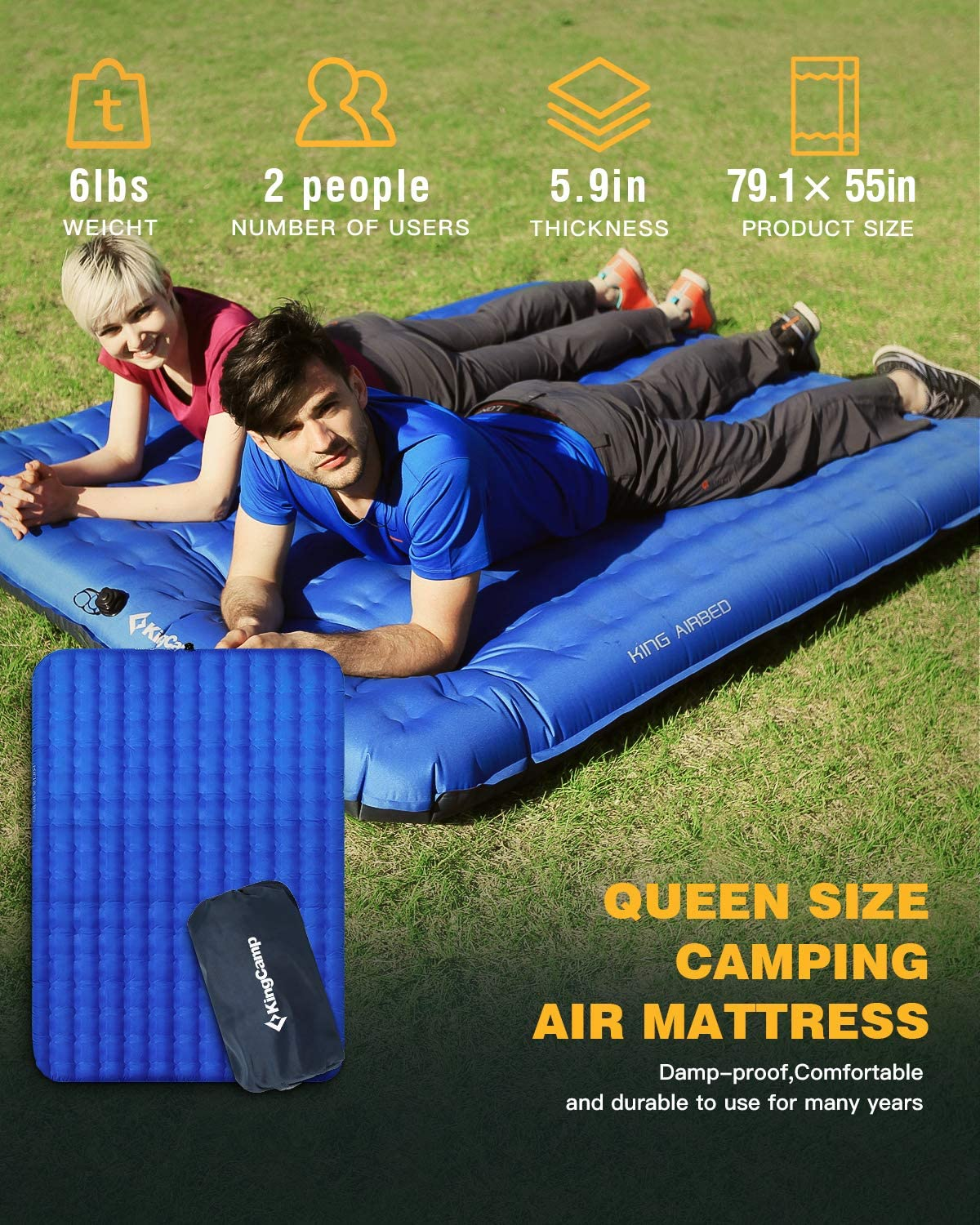 KingCamp Lightweight Camping Air Bed 2 Person Sleeping Pad Mattress