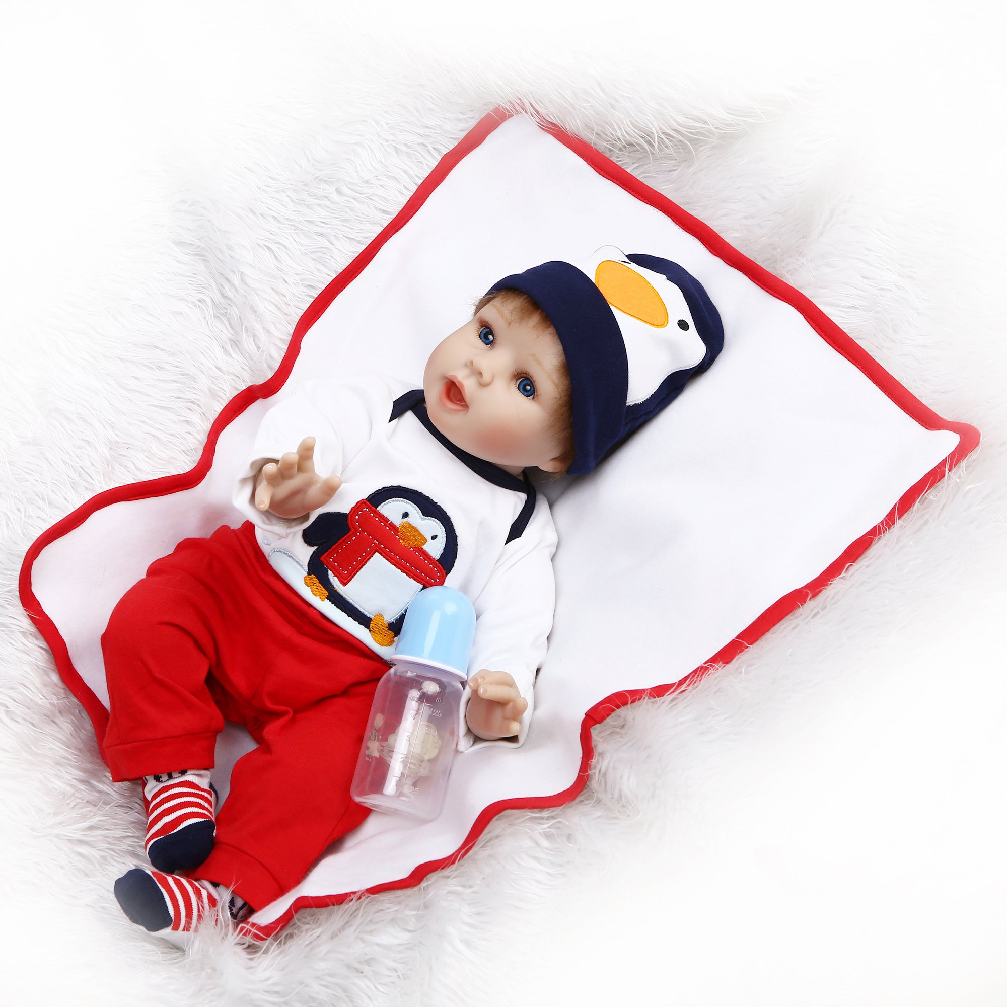 Silicone Reborn Baby Dolls Boy Whte Outfit with Penguin Pattern 22 Inches