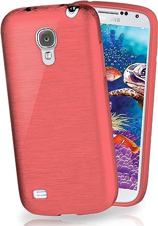 MoEx® Funda de Silicona con Aspecto Aluminio Cepillado Compatible con Samsung Galaxy S4 Mini en Corail: Amazon.es: Electrónica