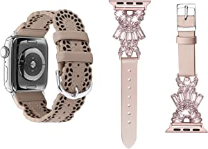 Secbolt Tan Chic Lace Leather Band and Pink Leather Band with BIing Compatible with Apple Watch Band 38mm 40mm iWatch SE Series 6 5 4 3 2 1