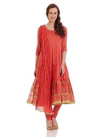 Amazon Com Biba Women S Peach Cotton Kalidar Suit Set 38 Clothing
