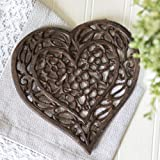 "Cast Iron Heart Trivet - Decorative Cast Iron Trivet For Kitchen Or Dining Table - Vintage, Rusted Design - 6.75X6.5"" - With Rubber Pegs/Feet - Recycled Metal by Comfify"