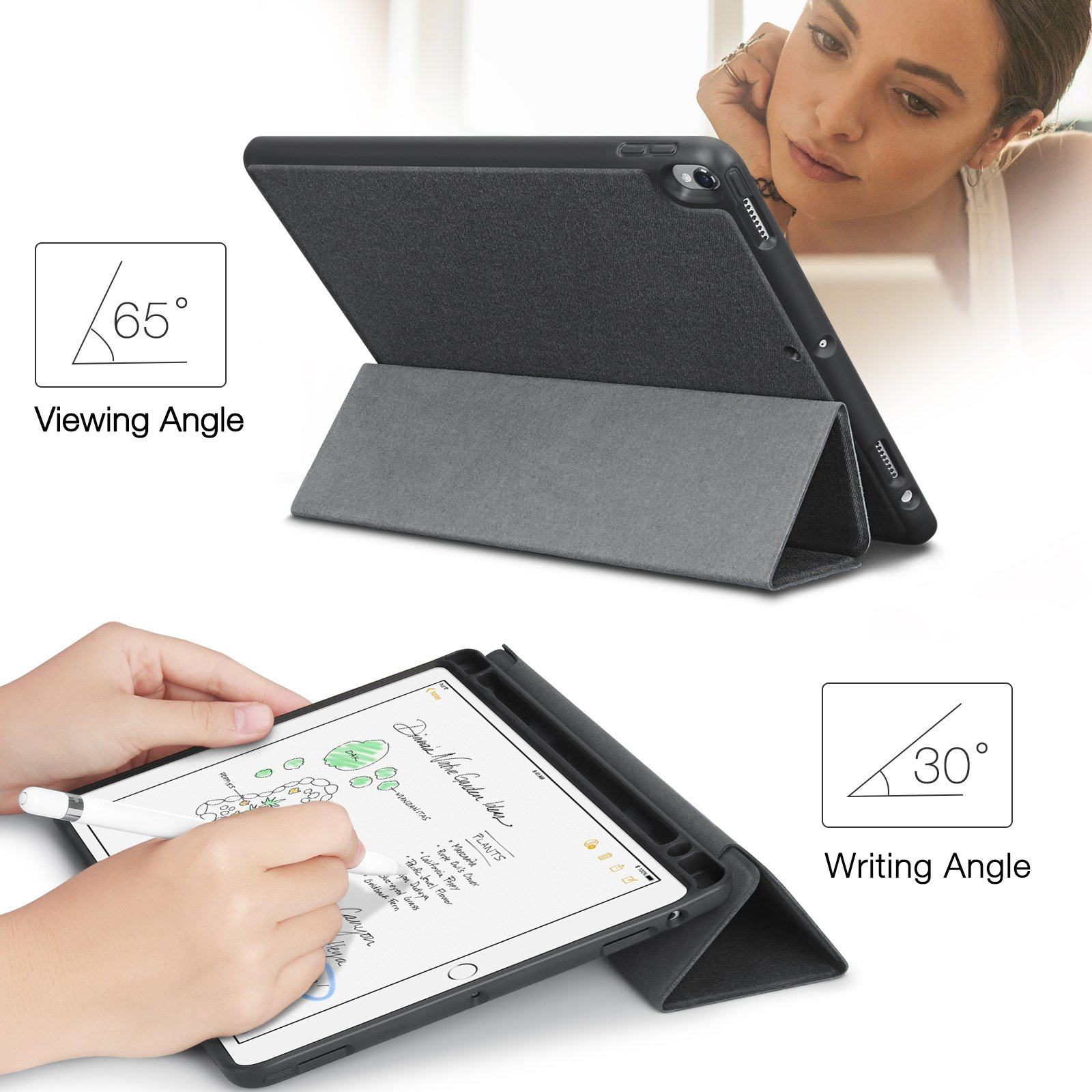 iVAPO iPad Pro 10.5 Case Pencil Holder Auto Sleep Wake Function Typing Viewing Tri-fold Stand PU Leather Smart Cover for iPad Pro 10.5 inch 2017 Black Denim Leather by iVAPO (Image #7)
