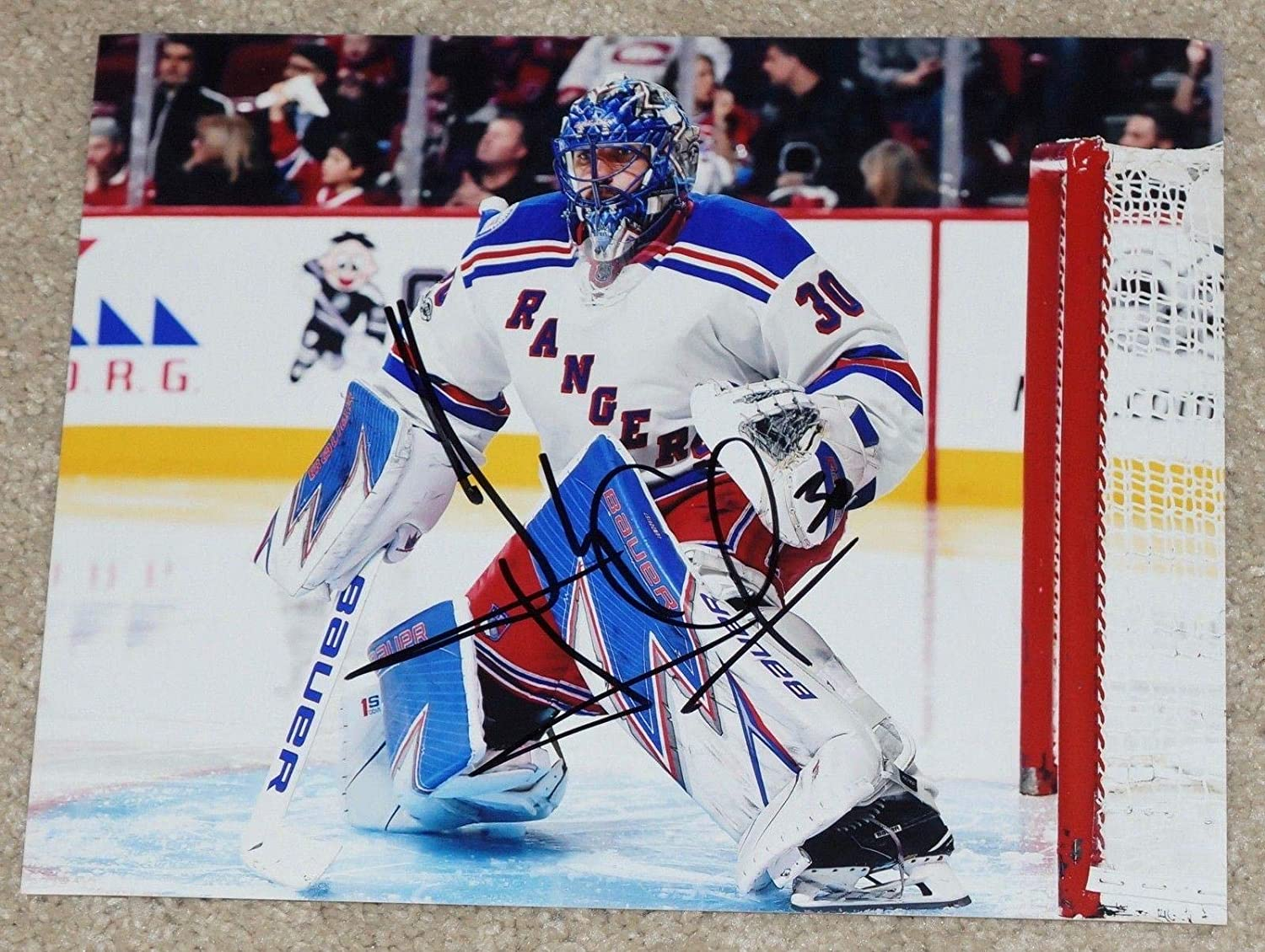 Henrik Lundqvist Signed Photo Ny 8x10 King In Net Autographed