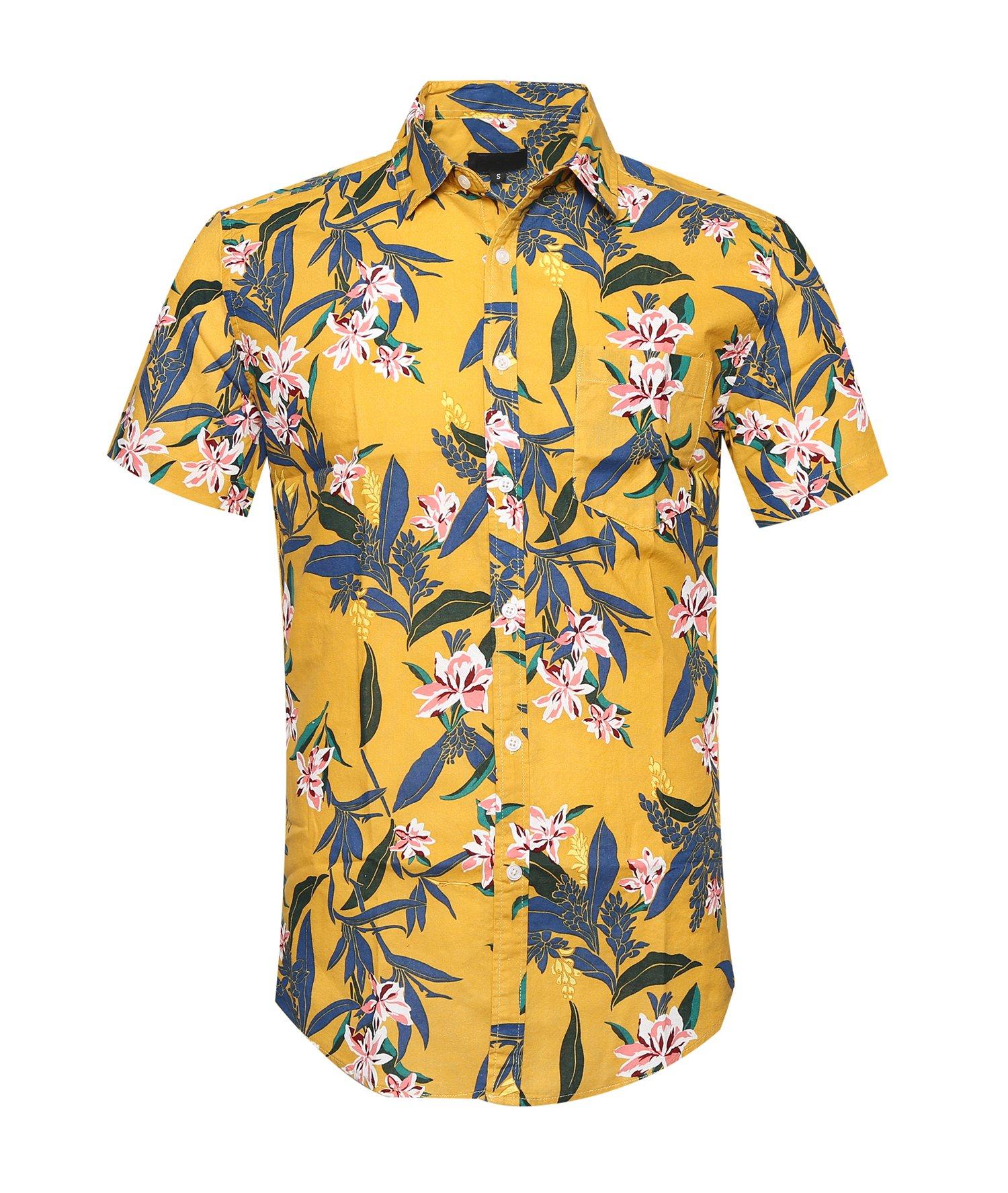 ALTOGUSTO Men's Flower Print Casual Button Down Short Sleeve Shirt Hawaiian Shirts