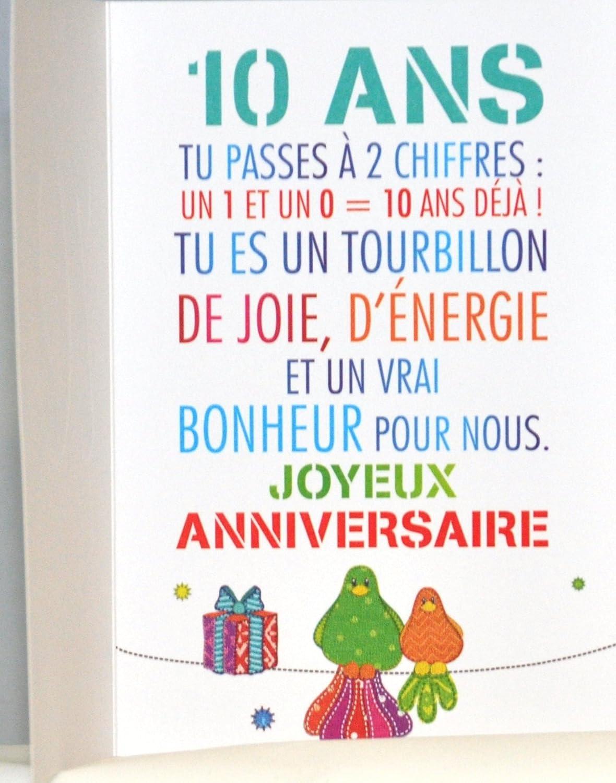 carte anniversaire garçon 10 ans Amazon.com: MV 69 2010 10 Years Child Boy Girl Happy Birthday Card