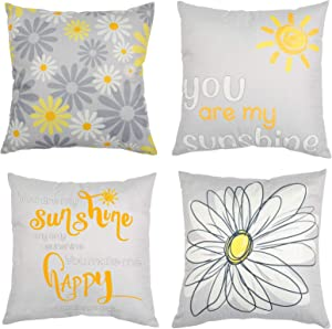 Yellow and Grey Set of 4 Decorative Double-sided Throw Pillow Covers, 18x18 Inches Summer Sunflower Home Decor Pillowcases for Farmhouse Living Room, Couch Cushion Bed Indoor Outdoor Floral Daisy