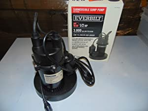 Everbilt SBA050BC 1/2 HP Submersible Sump Pump with Tether