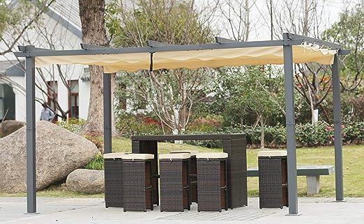 Angel Living [Actualizado] Pérgola de Aluminio con Techo Retráctil, Pabellón con Diseño Elegante, Cenador con Tela de Poliéster Resistente al Agua y a UV, Uso para el Exterior (3 x 4, Beige):