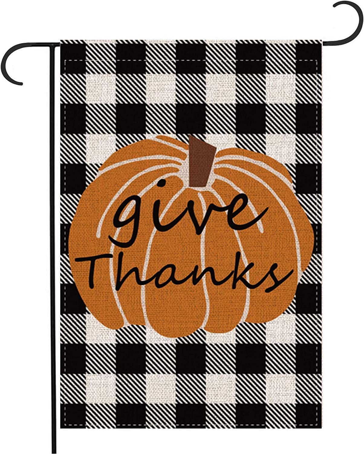 Pecsu Fall Thanksgiving Day Give Thanks Pumpkin Burlap Garden Flag Vertical Double Sided, Farmhouse Holiday Small Flags for Home House Yard Lawn Patio Garden Decoration 12.5 x 18 inch