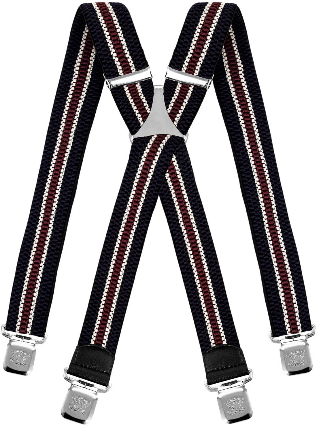 Decalen Mens Suspenders wide Adjustable and Elastic Braces X Shape with a Very Strong Clips Heavy Duty (Navy Blue Beige Maroon)