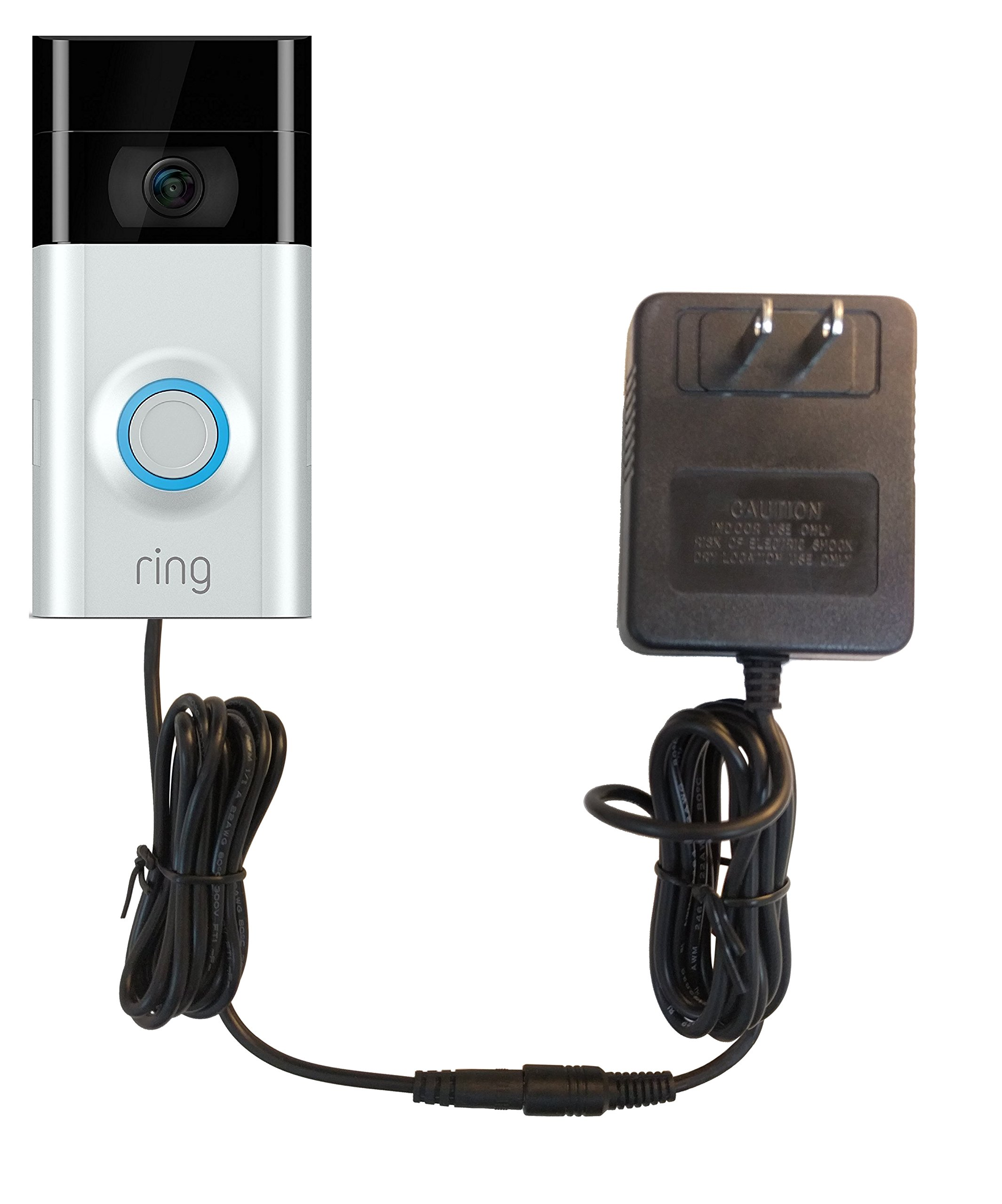 OhmKat Video Doorbell Power Supply - Compatible with Ring Video Doorbell 2 - Needs No Existing Wiring - Battery Charger, Transformer, Adapter, Power Kit & Supply All In One