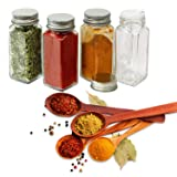 STONEKAE 25 Pcs Glass Spice Jars- Square Glass