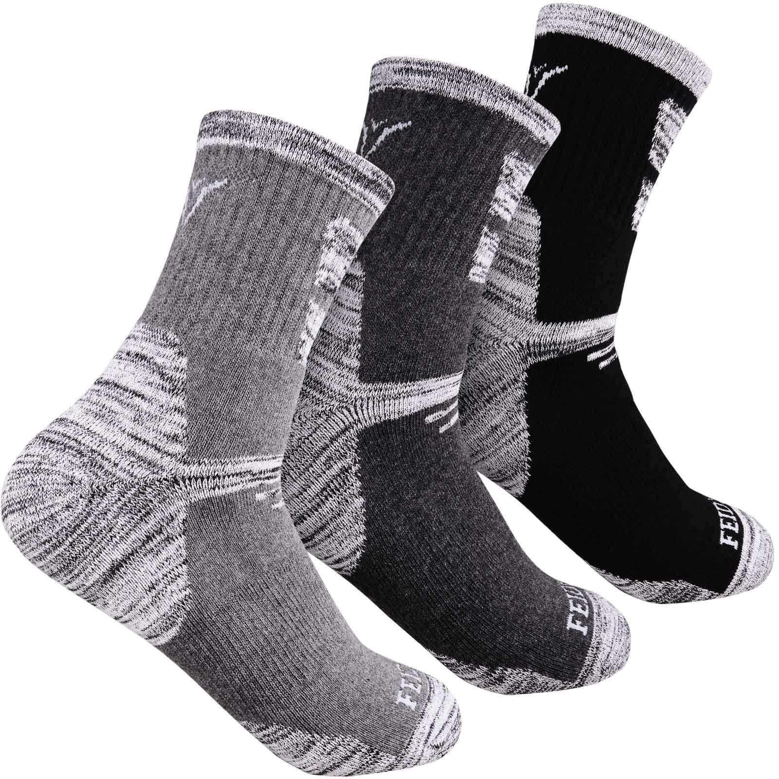 Hiking Socks Walking Socks For Men, FEIDEER 3-pack Outdoor Recreation Socks Moisture Wicking Crew Socks(19103-XL) by FEIDEER