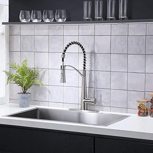 SHACO Commercial Pre-Rinse Single Handle High Arc Stainless Steel Brushed Nickel Spring Kitchen Faucet,Pull Out Single Hole Single Lever Farmhouse Faucets for Kitchen Sinks with Pull Down Sprayer