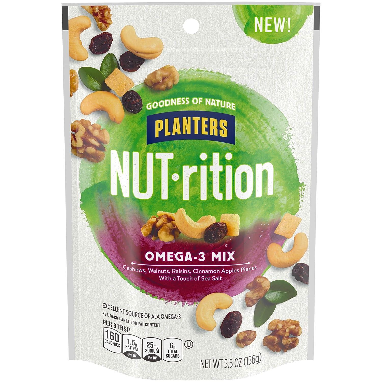 NUT-rition Omega-3 Nut Mix (5.5 oz Bag) - Trail Mix with Cashews, Walnuts, Raisins, Cinnamon Apple Pieces & Sea Salt