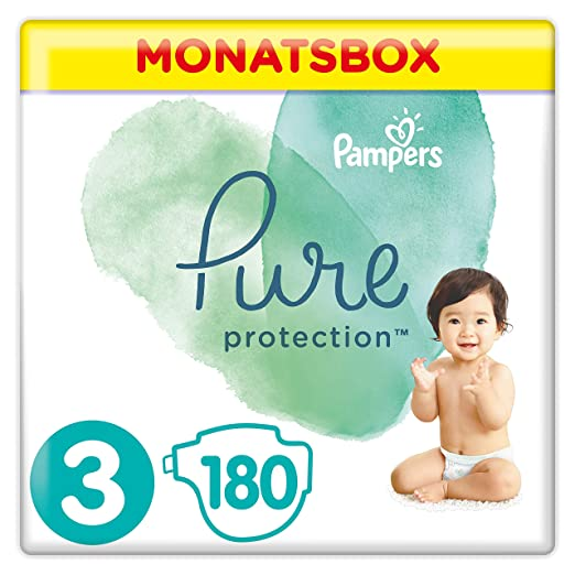 Pampers Pure Protection, Gr.3 Midi 6-10 kg, Monatsbox (1 x 180 Stück), mit Premium-Baumwolle