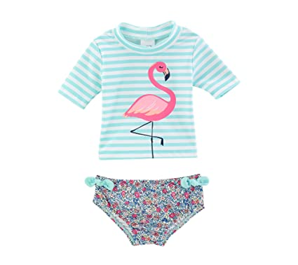 d5f45727db Amazon.com: Carter's Baby Girls' Flamingo Rashguard Swimsuit Set 12 ...