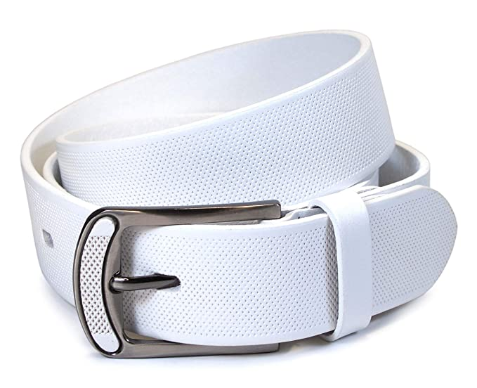 Hombres 100% Cuero Real Cinturón Blanco 28, 30, 32, 34, 36 ...