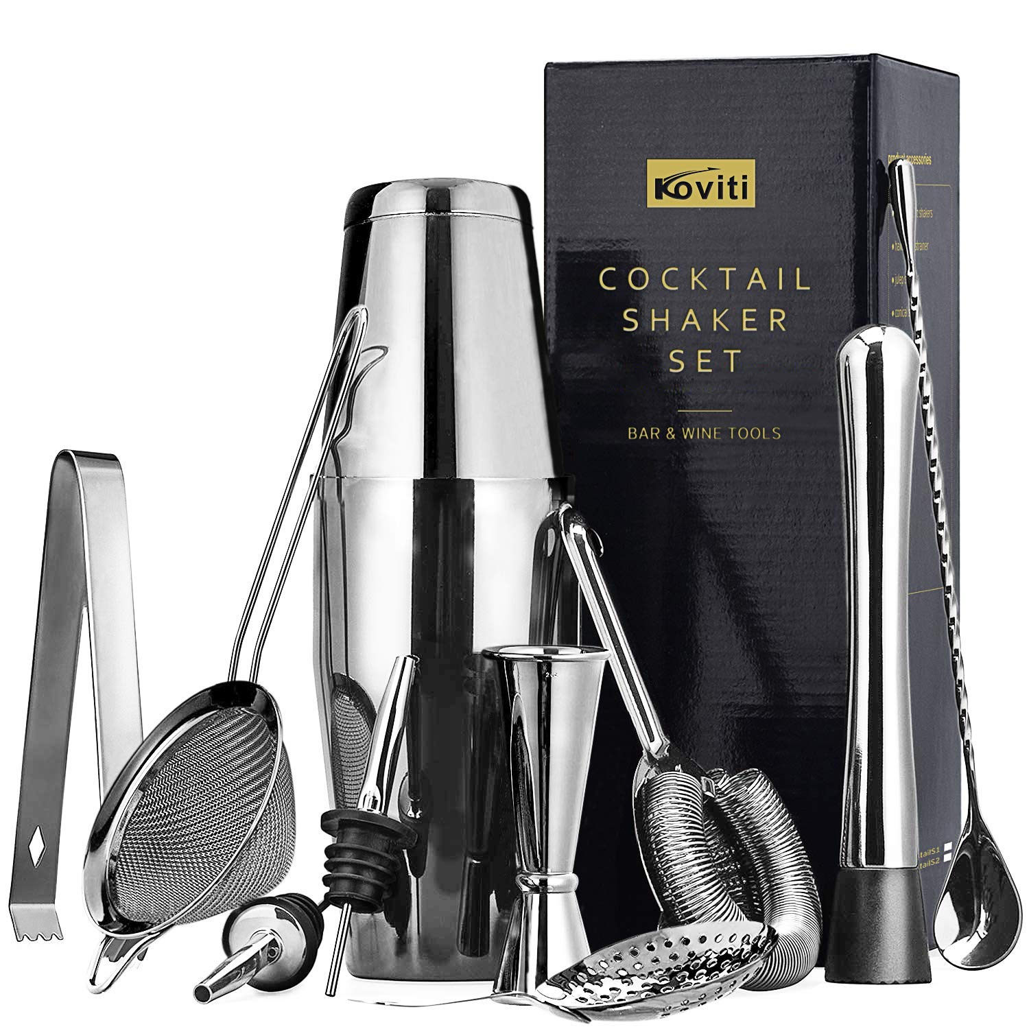 11 Piece Cocktail Shaker Set, Koviti Stainless Steel Bartender Kit - 18 and 28 oz Shakers,Cocktail Strainer Set,Cocktail Muddler and Spoon,Measuring Jigger,2 Liquor Pourers and Ice Tong by Koviti