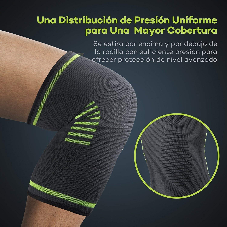 2 x Rodilleras Compresión Sable, Rodilleras Deportivas para crossfit, motocross, voleibol, bicicleta, Baloncesto (diseño antideslizante, distribución ...