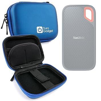 DURAGADGET Estuche Rígido Azul para Disco Duro Externo Sandisk Extreme Portable SSD 1 TB SDSSDE60-1T00-G25 2 TB, 250G, 500 GB