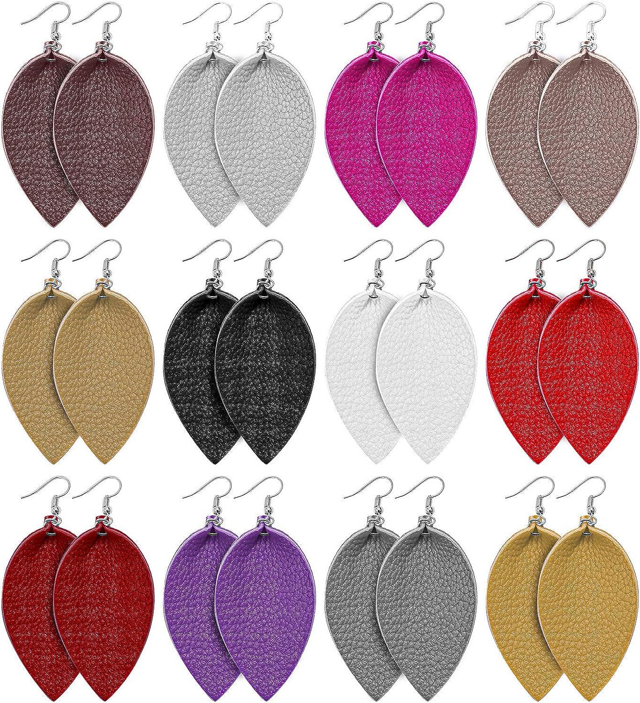 URATOT 12 Pairs Faux Leather Earrings Teardrop Petal Earrings Antique Dangle Leaf Earrings with Velvet Storage Bag for Women Gift