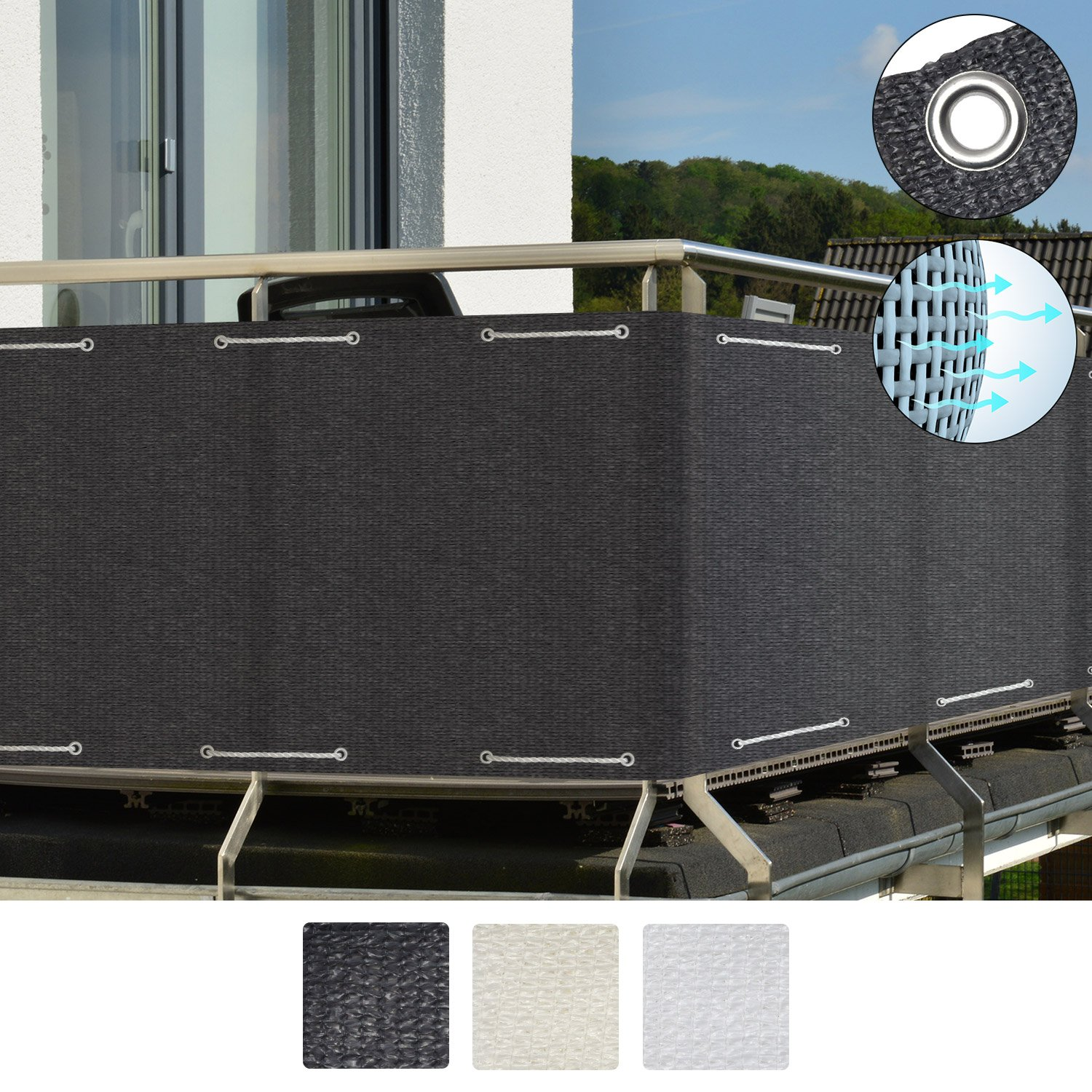 Sol Royal Balcony Privacy Screen 90x300 cm SolVision HB2 Sun Wind UV Protection White Screening with Eyelets & Cord