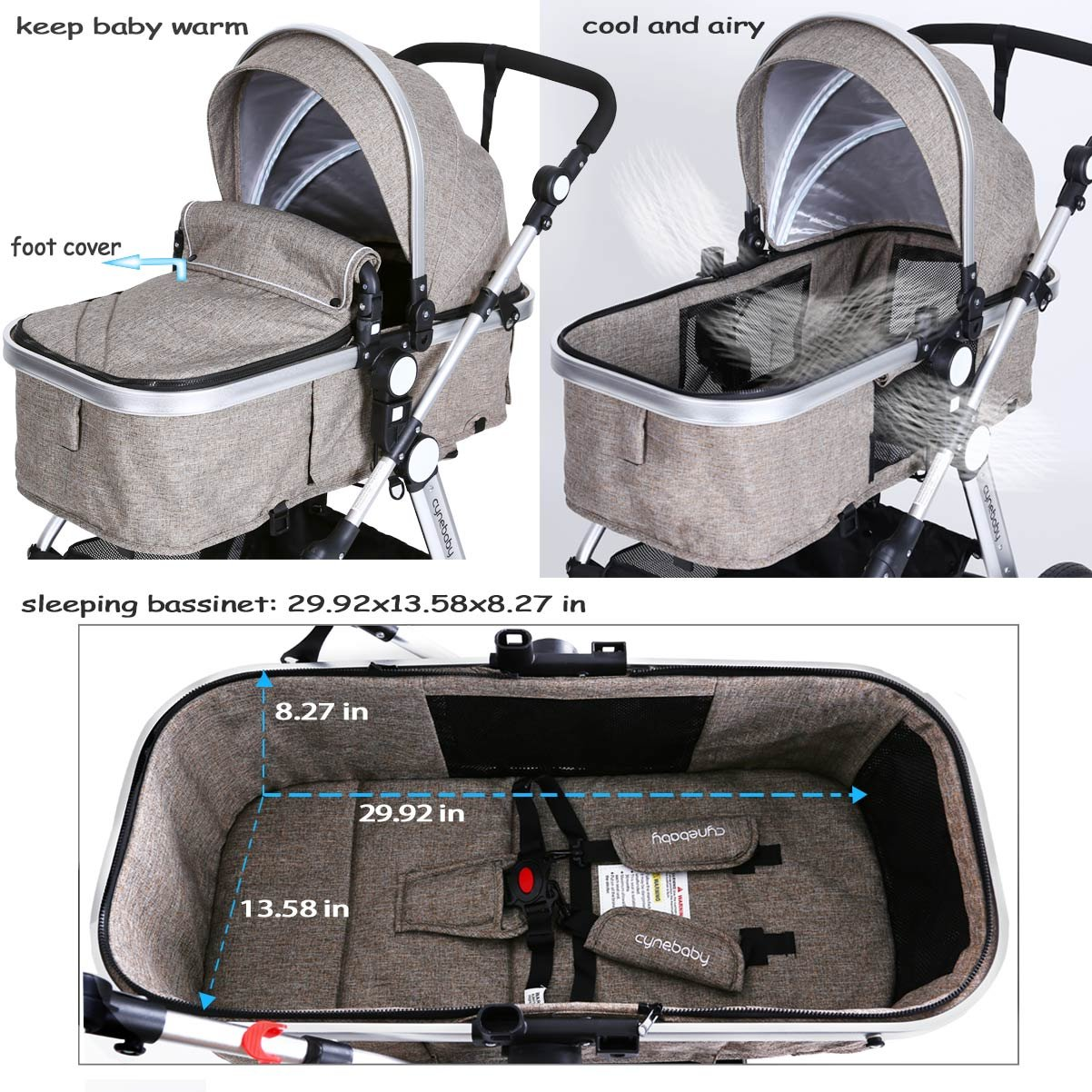 Infant Toddler Baby Stroller Carriage - Cynebaby Compact Pram Strollers add Tray (Khaki) by cynebaby (Image #7)