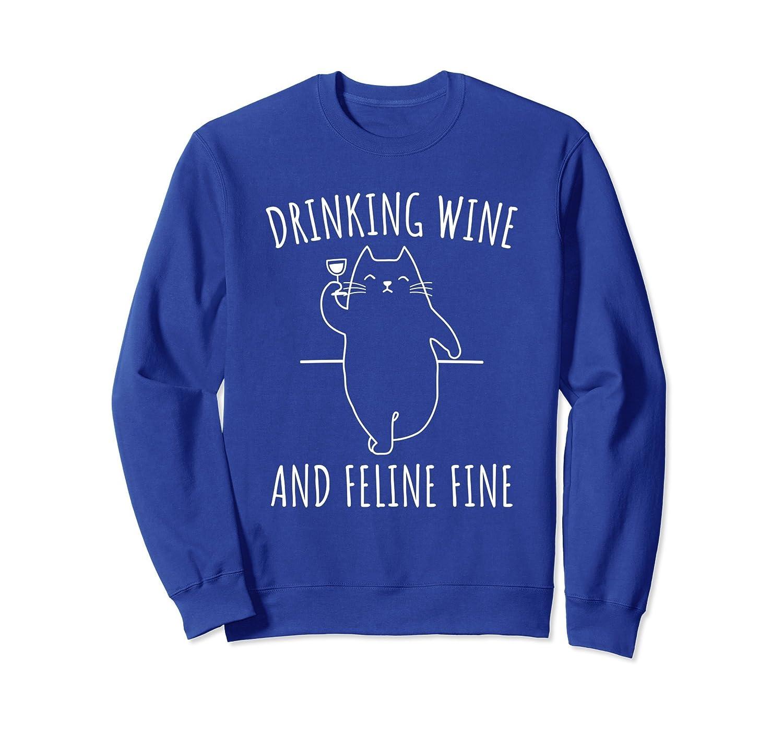 Wine Cat & Feline Lover Sweatshirt-mt