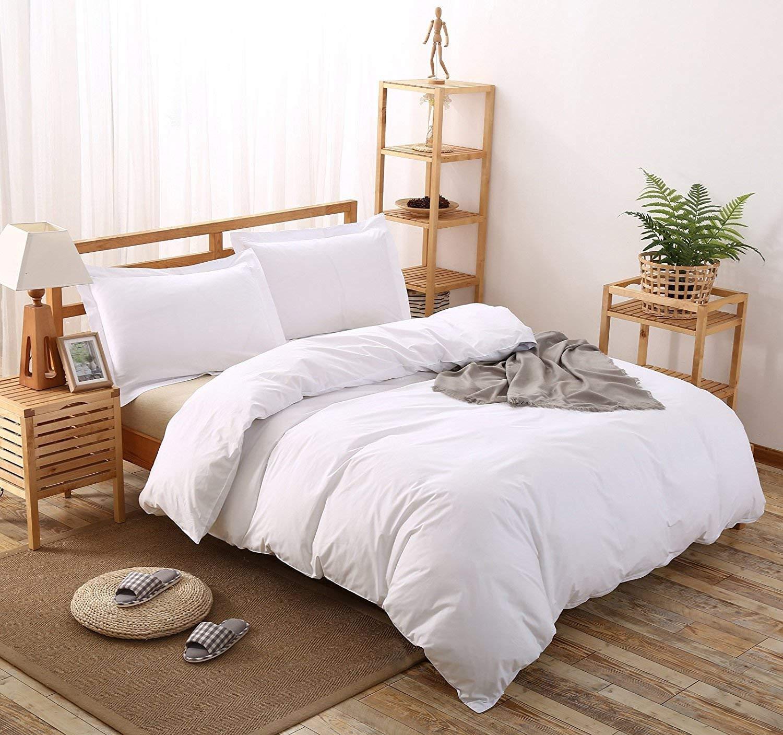 Precious Star Linen ホテル品質 1000TC ジッパー開閉 3ピース 羽毛布団カバーセット コーナータイ付き、エジプト綿、ホワイトソリッド、フル/クイーン(90 x 90インチ) B07P1GB574