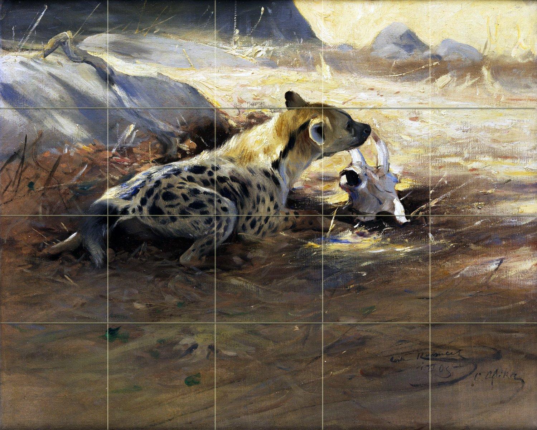 Landscape africa savannah hyena by Wilhelm Kuhnert Spielende Tile Mural Kitchen Bathroom Wall Backsplash Behind Stove Range Sink Splashback 5x4 8'' Ceramic, Matte by FlekmanArt