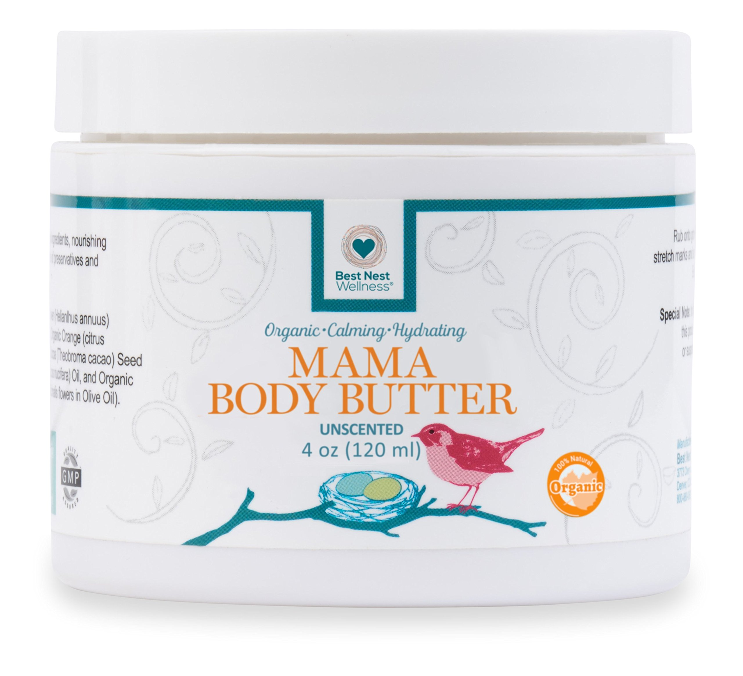 Best Nest Mama Body Butter | 100% Organic, Stretch Mark Belly Balm Cream, Intensive Moisturizer, Unscented, 4 Oz