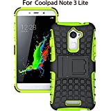Heartly Flip Kick Stand Spider Hard Dual Rugged Shock Proof Tough Hybrid Armor Bumper Back Case Cover For Coolpad Note 3 Lite ( 5 Inch ) - Great Green