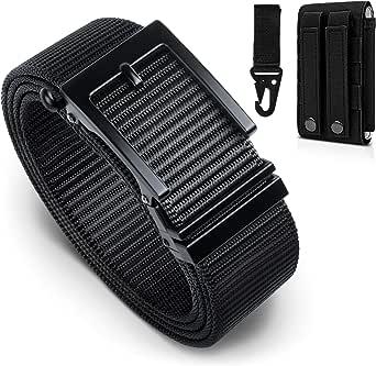 BESTKEE Cinturón táctico para hombres 1.5 pulgadas, estilo militar Cinturón con hebilla con cierre rápido de hebilla de metal, regalo con bolsa táctica Molle y gancho