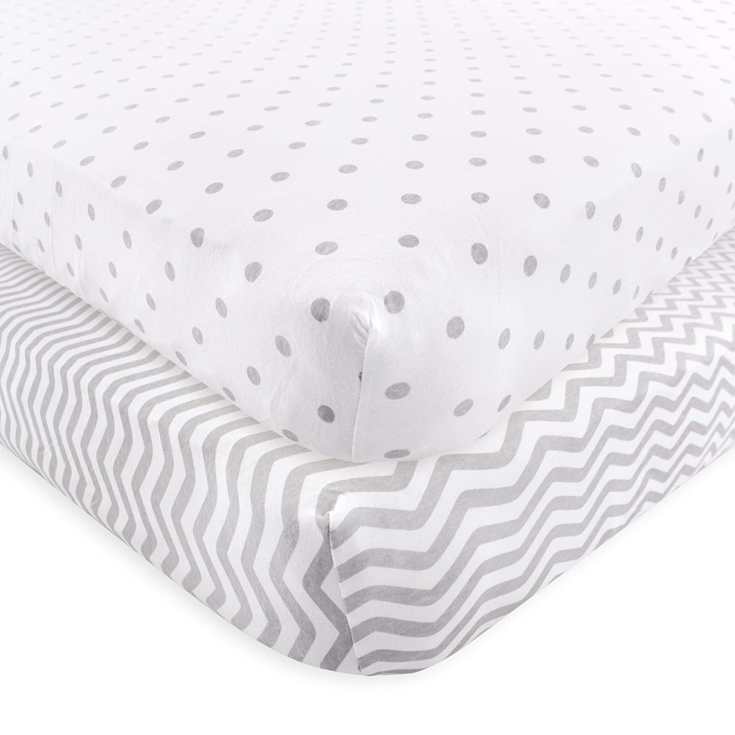 Amazon.com : Luvable Friends Fitted Knit Crib Sheet, Gray Chevron and Dots, One Size : Baby