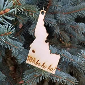 Idaho, Keepsake, Wood Christmas Ornament with Snowflake (Ida Ho-ho-ho)