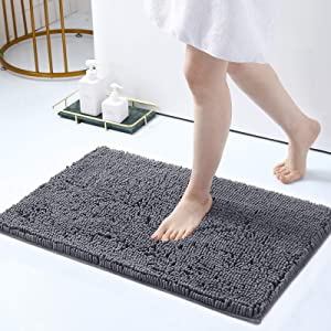 Smiry Luxury Chenille Bath Rug, Extra Soft and Absorbent Shaggy Bathroom Mat Rugs, Machine Washable, Non-Slip Plush Carpet Runner for Tub, Shower, and Bath Room(17''x24'', Grey)