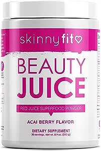 SkinnyFit Beauty Juice, Red Superfood Powder, Acai Berry Flavor - Anti-Aging, Aids in Digestion, Helps Boost Mood & Immunity, Prebiotics & Probiotics, 30 Servings