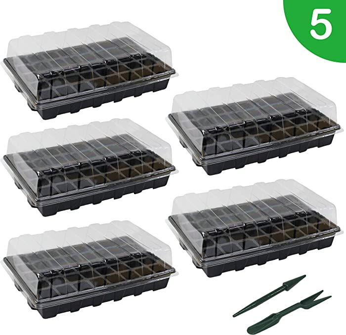 "Gardzen 5-Set Garden Propagator Set, Seed Tray Kits with 200-Cell, Seed Starter Tray with Dome and Base 15"" x 9"" (40-Cell Per Tray)"