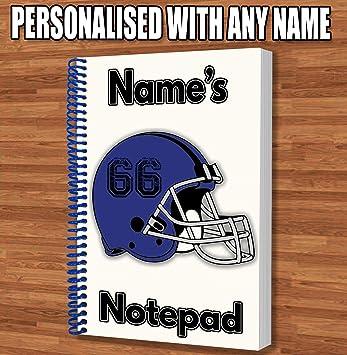 Fútbol americano NFL personalizado regalo – Cascos Azules A5 espiral Bound Notebook