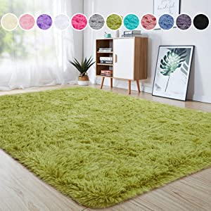 junovo Ultra Soft Area Rugs 4 x 5.3ft Fluffy Carpets for Bedroom Kids Girls Boys Baby Living Room Shaggy Floor Nursery Rug Home Decor Mats, Green