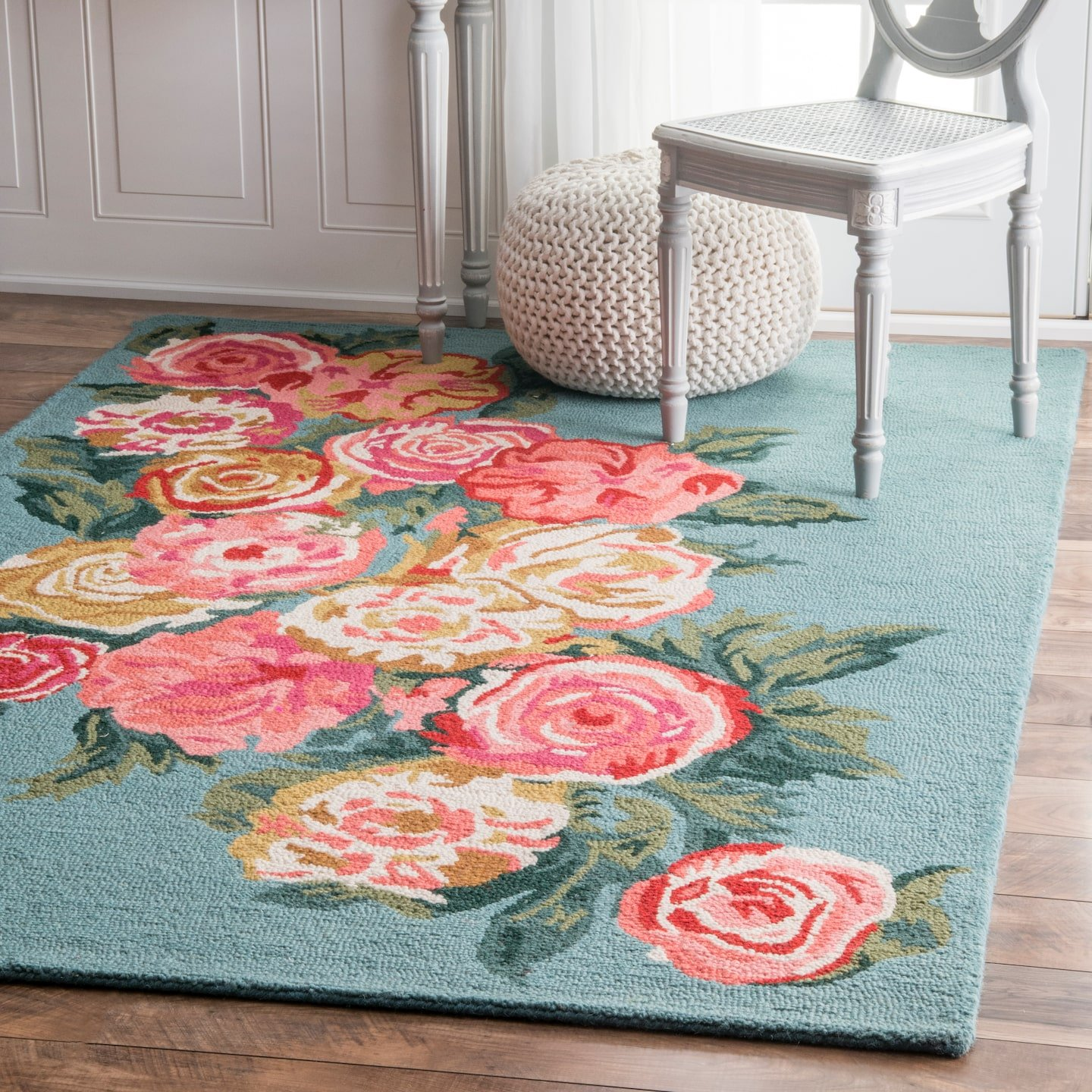 nuLOOM Bouquet Farmhouse Rose Wool Rug, 3 x 5 , Light Blue