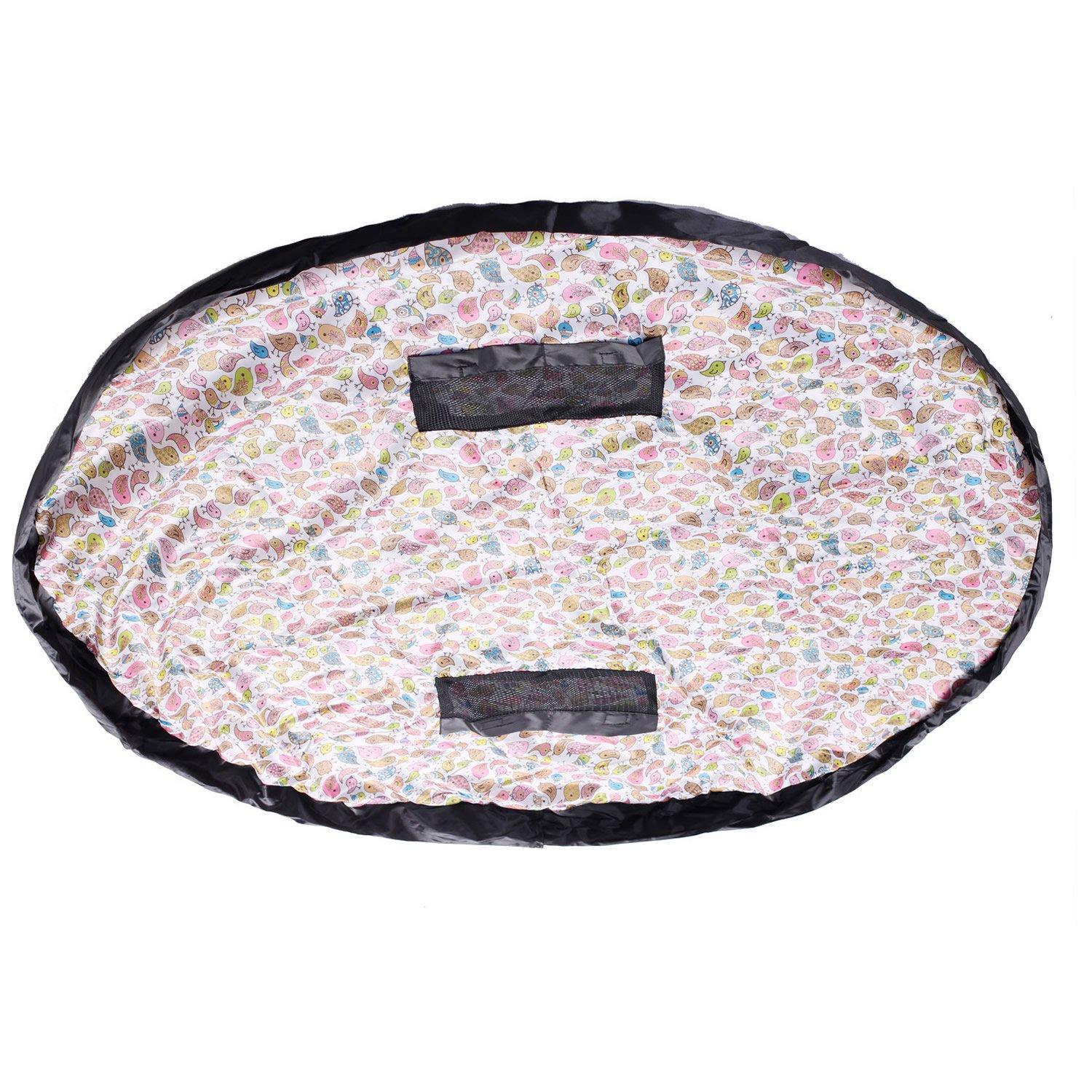 TUKA hidrófugo 151 cm Estera del juego y juguetes almacenamiento bolsa, XXL alfombra, niños jugar Mat. Rápidamente limpieza organizador del almacenaje, portátil al aire libre manta actividades alfombra, Pájaro colorido, TKD4006 colorfulbird TUKAI