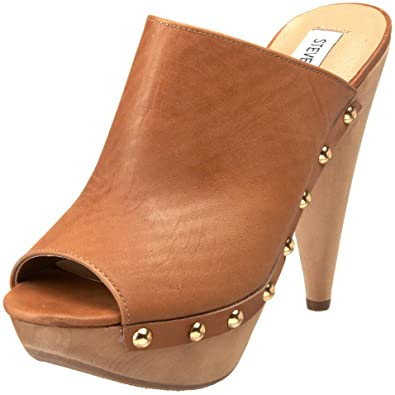 73933abee37 Steve Madden Daynty Womens Tan Leather Mules Heels Shoes New Display   Amazon.co.uk  Shoes   Bags