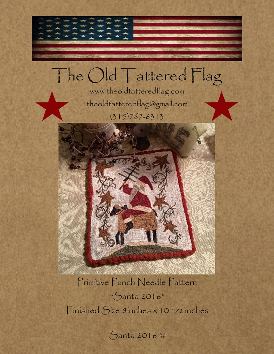 Santa 2016 Sheep Christmas Punch Needle Embroidery Old Tattered Flag Pattern