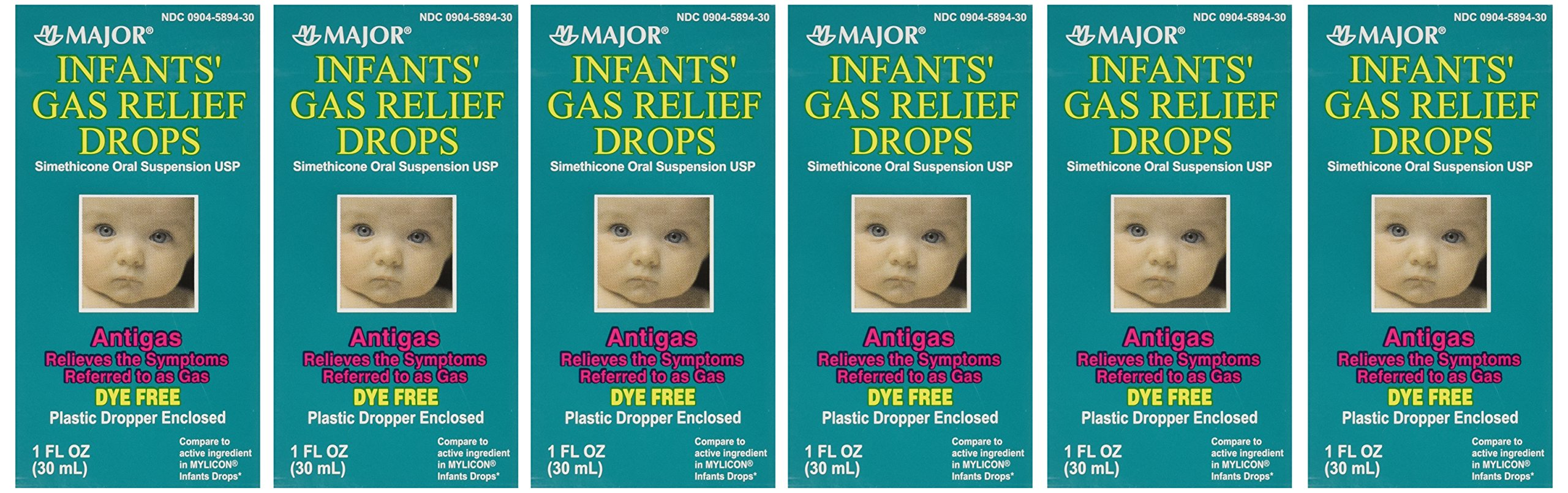 Newborns, Infants & Children Gas Relief Simethicone 20 mg/0.3ml Drops Dye Free Generic for Mylicon 1 oz (30ML) 6 PACK Total 6 oz by Major Pharmaceuticals