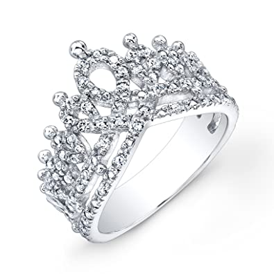 victoria kay 16ct white diamond crown ring in sterling silver size 6 - Crown Wedding Rings