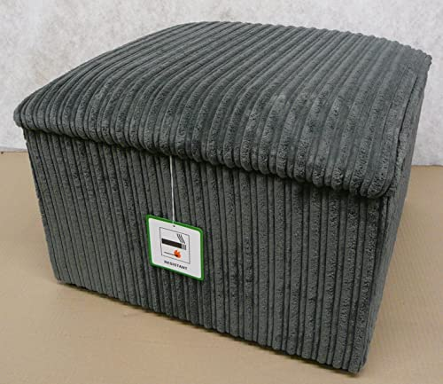 Large Storage box/ pouffee with a lift up lid in grey jumbo cord fabric...Ideal for any room in the house